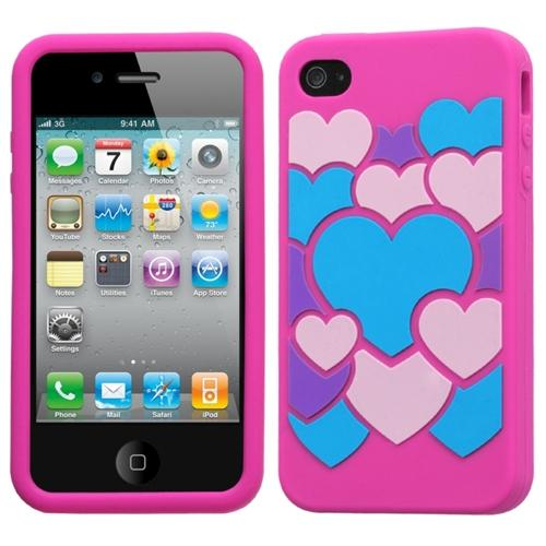 Insten Colorful Love/Hot Pink Pastel Skin Case For iPhone 4 4S