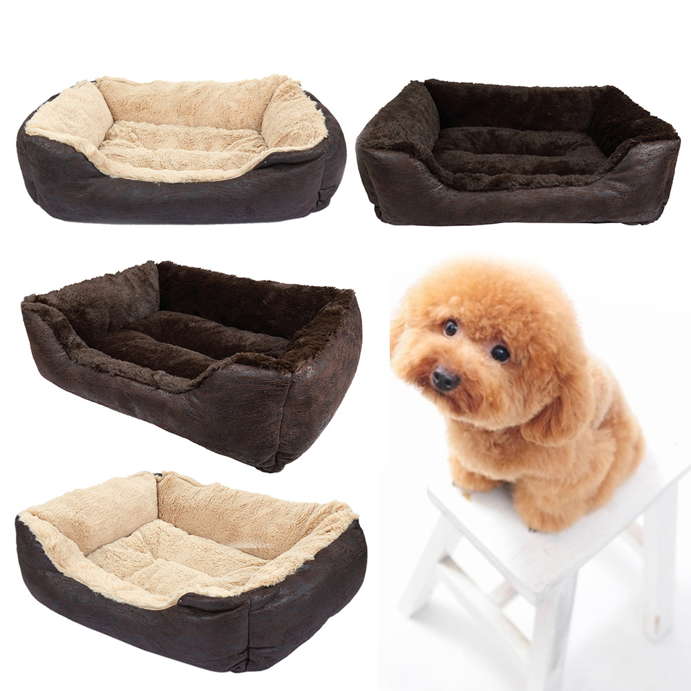 Pet Bed, CoastaCloud Soft Washable Dog Cat Pet Warm Basket Bed Cushion with Fleece Lining Rectangle Pet Bed All Season All Weather Pet Bed Three Sizes to Fit Most Pets Small, Black or Dark Brown (Rand