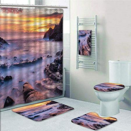 EREHome Hawaiian Colorful Sunrise at Halona Cove Eternity Beach on Oahu Foggy Coastline Seascape 5 Piece Bathroom Set Shower Curtain Bath Towel Bath Rug Contour Mat and Toilet Lid Cover - image 1 de 2