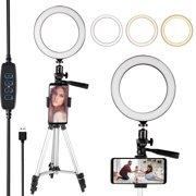 Selfie Light, EEEKit Ring Light with Tripod Stand & Cell Phone Holder for Live Stream/Makeup, Mini Led Camera Ring Light for YouTube Video/Photography Compatible with iPhone SE 11 Pro Max Android