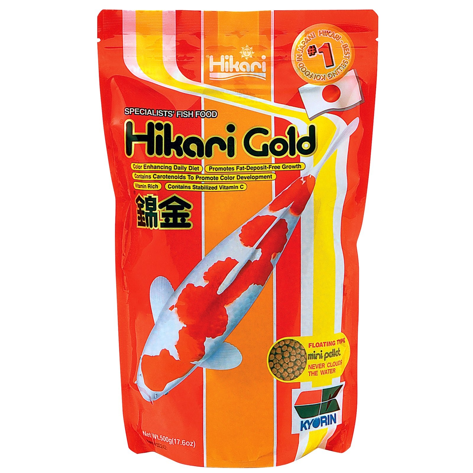 Hikari Gold Koi Mini Pellet Fish Food, 17.6 Oz