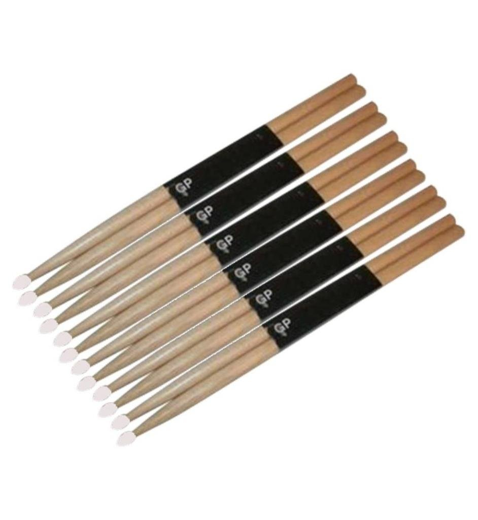 Wooden Oak Drumsticks w/ Nylon Tip, Lot of 12 (6 Pairs), GPDS7AN ^6, Lot of 12 (6 pair) By GP Percussion