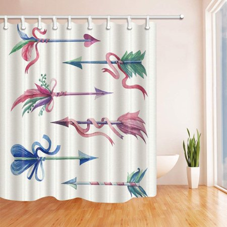 BPBOP Ribbon Decor Watercolor Arrow With Feathers Polyester Fabric