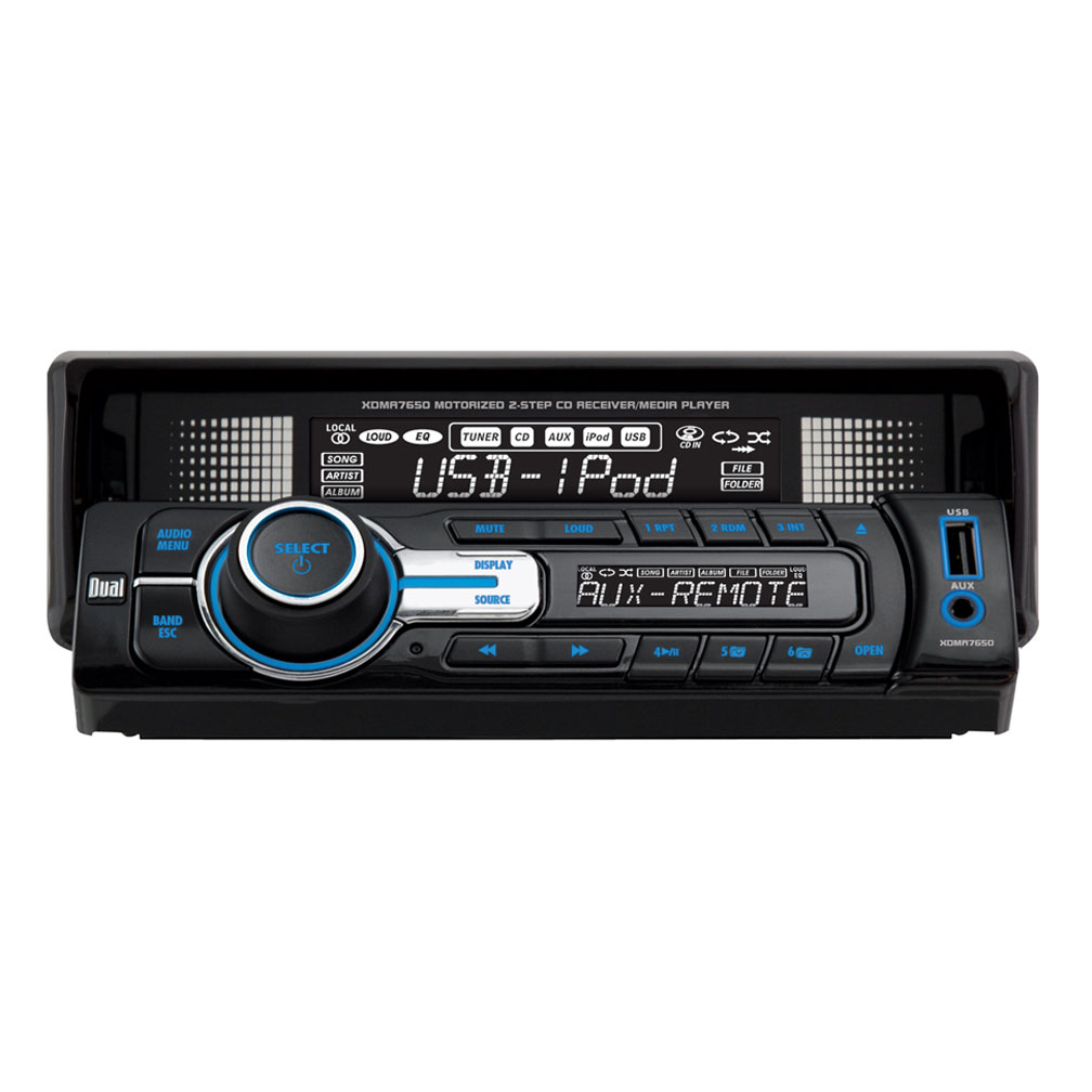 DUAL XDMA7650 Single-DIN In-Dash 240-Watt CD/MP3/WMA/USB/iPod(R) Receiver with 2-Step Motorized Front Panel