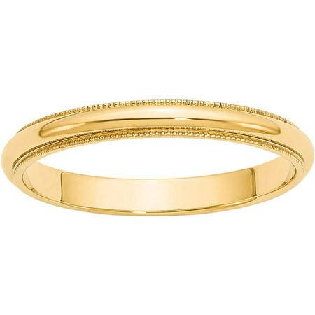 Gold Milgrain Designer Band (14k 3mm Milgrain Half-Round Wedding Band)