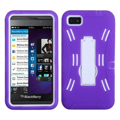 Insten White/Purple Symbiosis Stand Case for BLACKBERRY: Z10