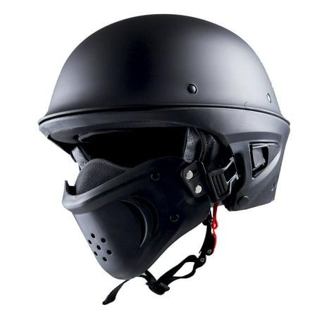 1STorm Motorcycle Half Face Helmet Death Trooper Matt Black, Size Large (57-58 CM,22.4/22.8 Inch)