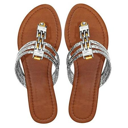 Peach Couture Women`s Chain Link Gem Bridge Open Toe Wedge Thong Sandal Gold, 6