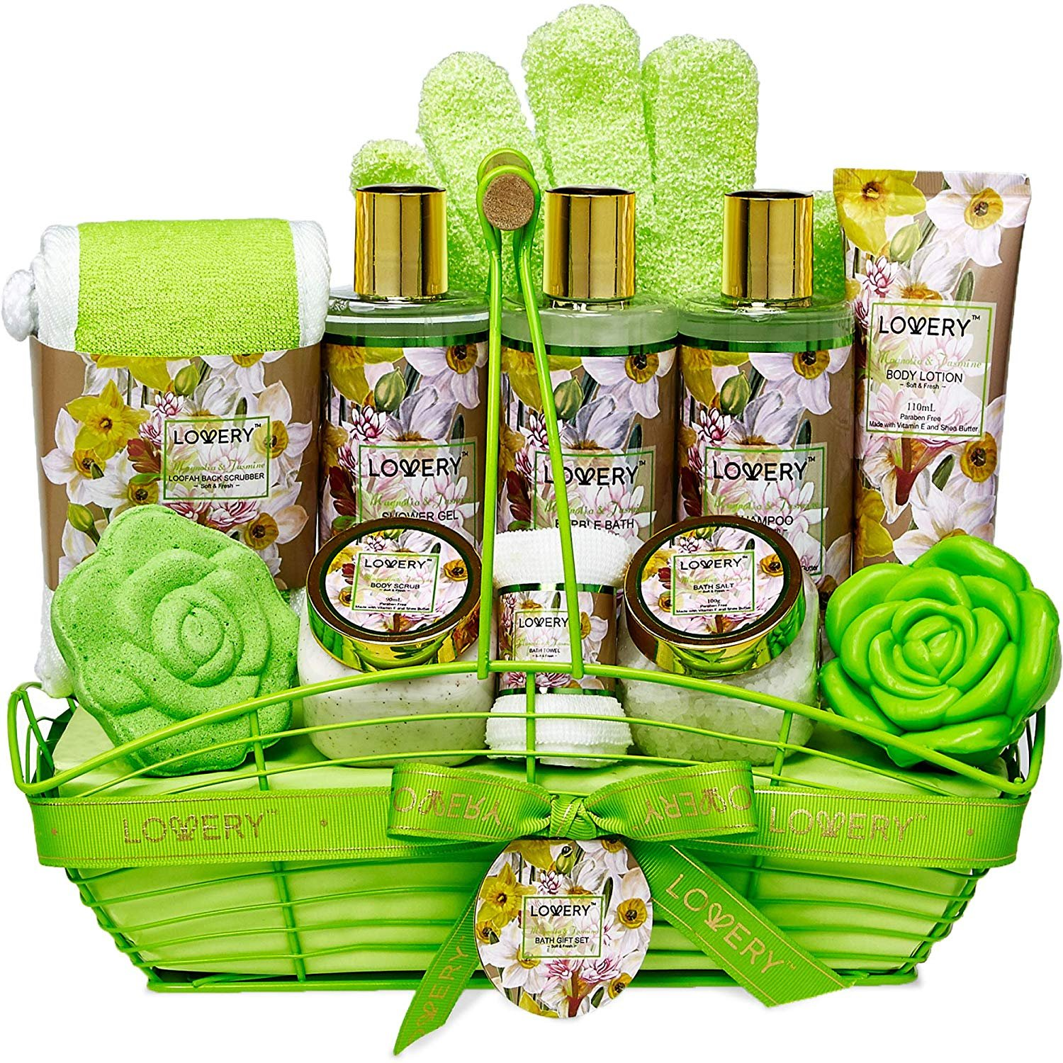 Bath and Body Gift Basket For Women – Magnolia and Jasmine Home Spa Set, Includes Fragrant Lotions, Bath Bomb, Towel, Shower Gloves, Green Wired Bread Basket and More - 13 Piece Set