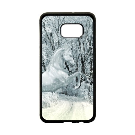 White Horse in the Snow Design Black Plastic Protective Phone Case That Is Compatible with the Samsung Galaxy s6 Edge (Horse Protective Case)