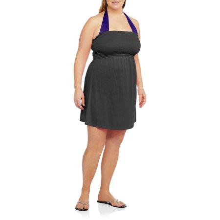 No Boundaries Juniors' Plus-Size Smocked Bandeau Dress Swim Cover-Up