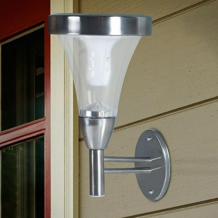 Pure Garden Outdoor Wall or Post Mount Solar Lights - Set of 2 (Lighting Wall Light Post Mount)