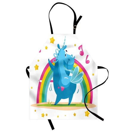 Unicorn Party Apron Colorful Cartoon Horse with Horn Dancing in Front of the Rainbow Funny Animal, Unisex Kitchen Bib Apron with Adjustable Neck for Cooking Baking Gardening, Multicolor, by Ambesonne