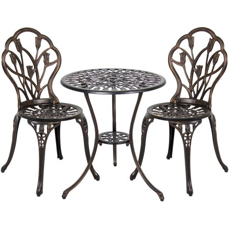 Best Choice Products Antique Cast Aluminum 3-Piece Outdoor Bistro -