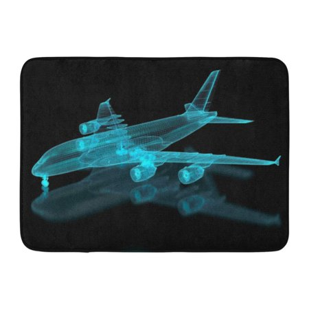 GODPOK Plane Blue Aviation Commercial Aircraft Mesh Part of Series White Blueprint Engineer Rug Doormat Bath Mat 23.6x15.7 inch