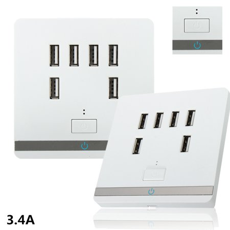 3.4A 6 Port USB Wall Charger Outlet Power Receptacle Power Usb Socket Adapter Socket Plate Panel Switch with ON/OFF Switch CE Certificate Fast Charging For Cellphone Tablet MP3 Fan Camera US