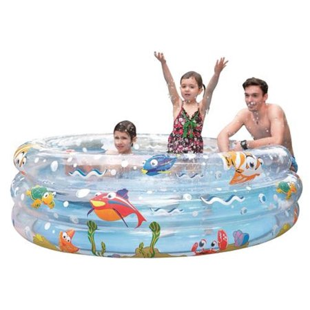 "59"" Ocean Floor Inspired Three Ring Inflatable Children's Swimming Pool - image 1 de 1"