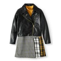 Wonder Nation Moto Jacket and Plaid Dress, 2-Piece Set (Little Girls, Big Girls & Plus)