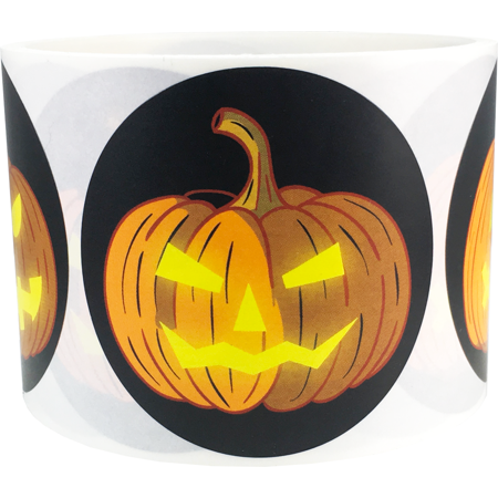 Halloween Pumpkin Stickers 2.5 Inch Round Circle Dots 4 Different Designs 100 Total Adhesive Stickers