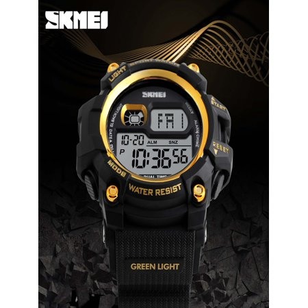 SKMEI Fashion Multi-function 50M Water-Proof Men Women Sports Watch Backlight Dual Time Unisex Electronic Outdoor Casual Wristwatch Alarm Chronograph Countdown 4 Colors Alarm Chronograph 100m Mens Watch