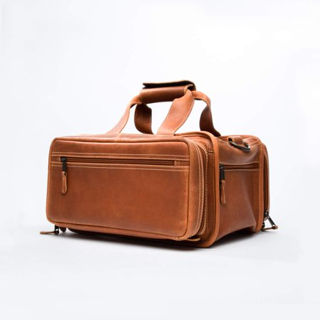 Bellagio-Italia Full Grain Leather Gun Range Bag for Handgun and Gun Accessories - Pockets for Gun Bag, Loops for Ammo, and Padded Pockets for Mag Clips - Classic Shooting Bag and Handgun