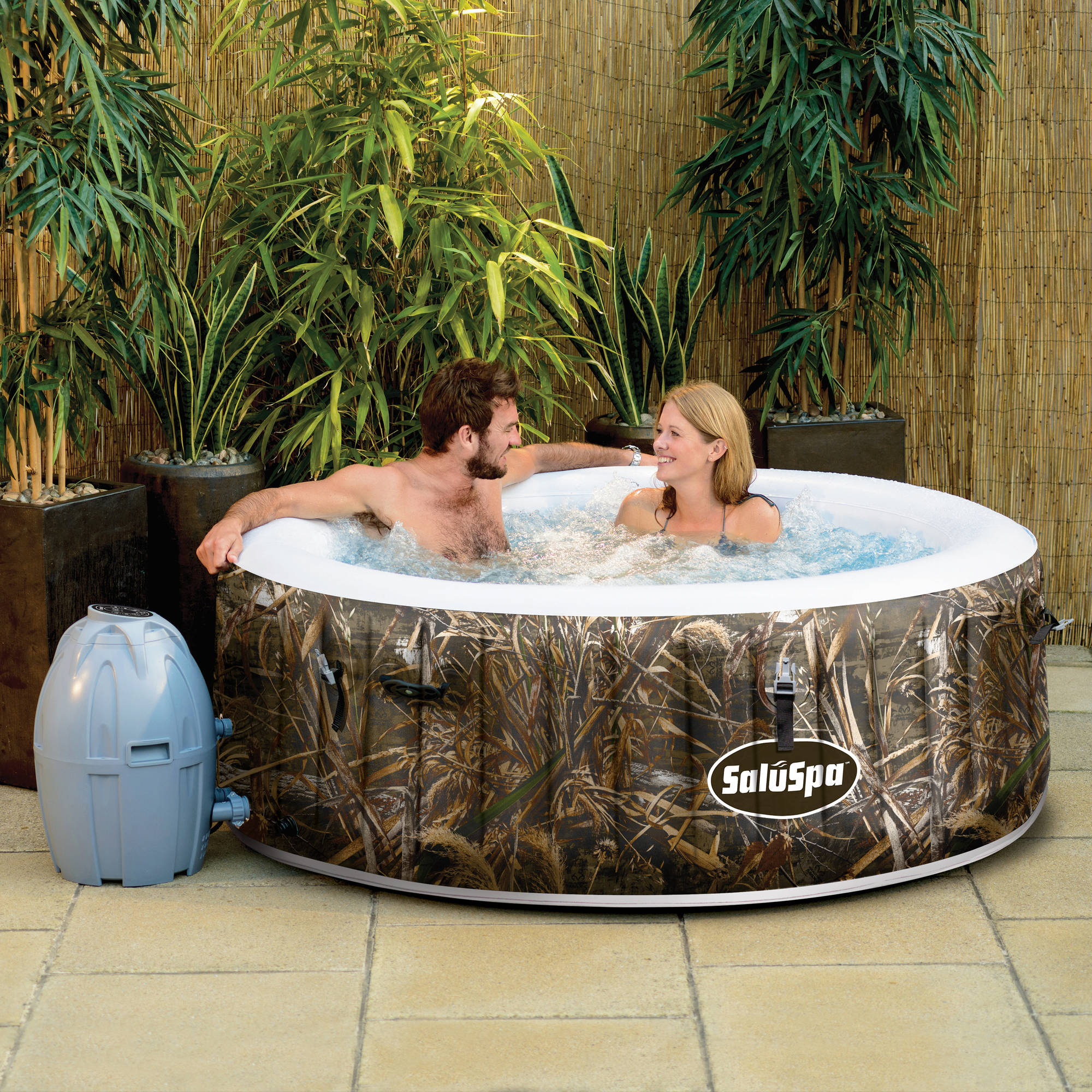 Click here to buy SaluSpa Realtree MAX-5 AirJet 4-Person Portable Inflatable Hot Tub Spa by Bestway.