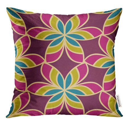 Oriental Stained Glass - USART Morrocan Floral Design Oriental with Abstract Flowers Hexagonal Trefoil Swatch Stained Glass Vitrage Pillow Case 18x18 Inches Pillowcase