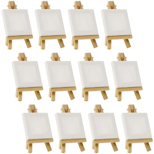 """12 US Art Supply Artists 3"""" x 3"""" Mini Canvas & Easel Set Painting Craft Drawing"""