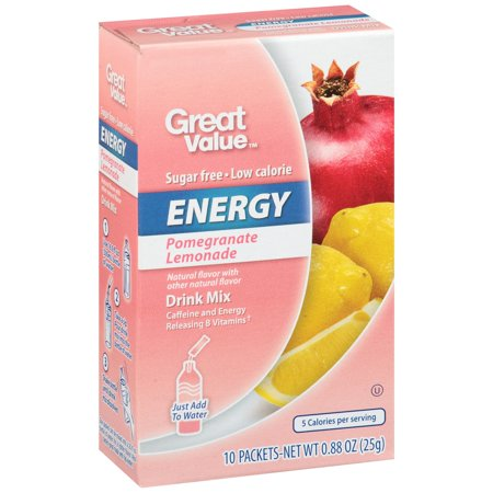 Great Value Energy Drink Mix  Sugar Free Pomegranate Lemonade  10 Count