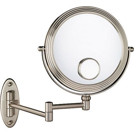 1X/10X w/15X Magnification Matte Nickel Wall Mount Beauty Mirror - 1X/10X W/15X Magnification Matte Nickel Wall Mount Beauty Mirror