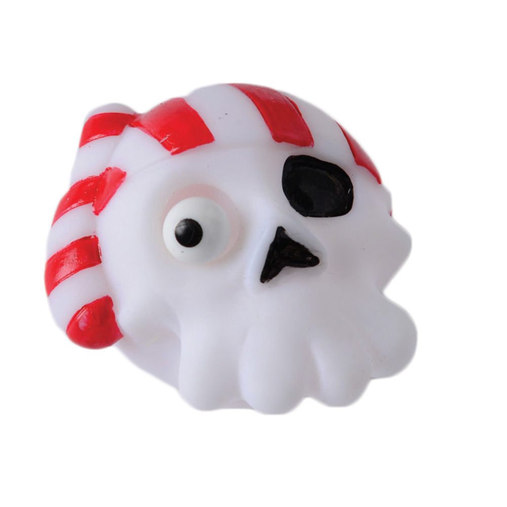 """US Toy Pirate Skull Popping Eye Halloween Squishy 2"""" Party Favor, White Red"""