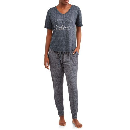 Danskin Women's Tee/Jogger Brushed Hacci Sleep (Danskin Clothes)