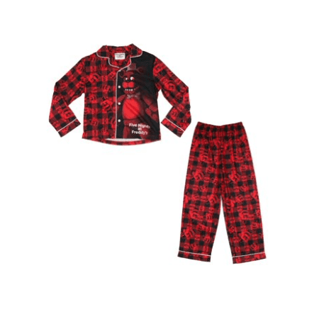 Boy's Five Nights at Freddy's Plaid Button-Up Coat 2-Piece Pajama Sleep Set - Five Nights At Freddy's 4 Halloween