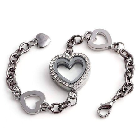 CLEARANCE - Story of My Life Heart Shaped Charm Locket Bracelet - Four Colors to Choose! Gunmetal