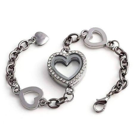 CLEARANCE - Story of My Life Heart Shaped Charm Locket Bracelet - Four Colors to Choose! Gunmetal (Heart Shaped Bracelets)