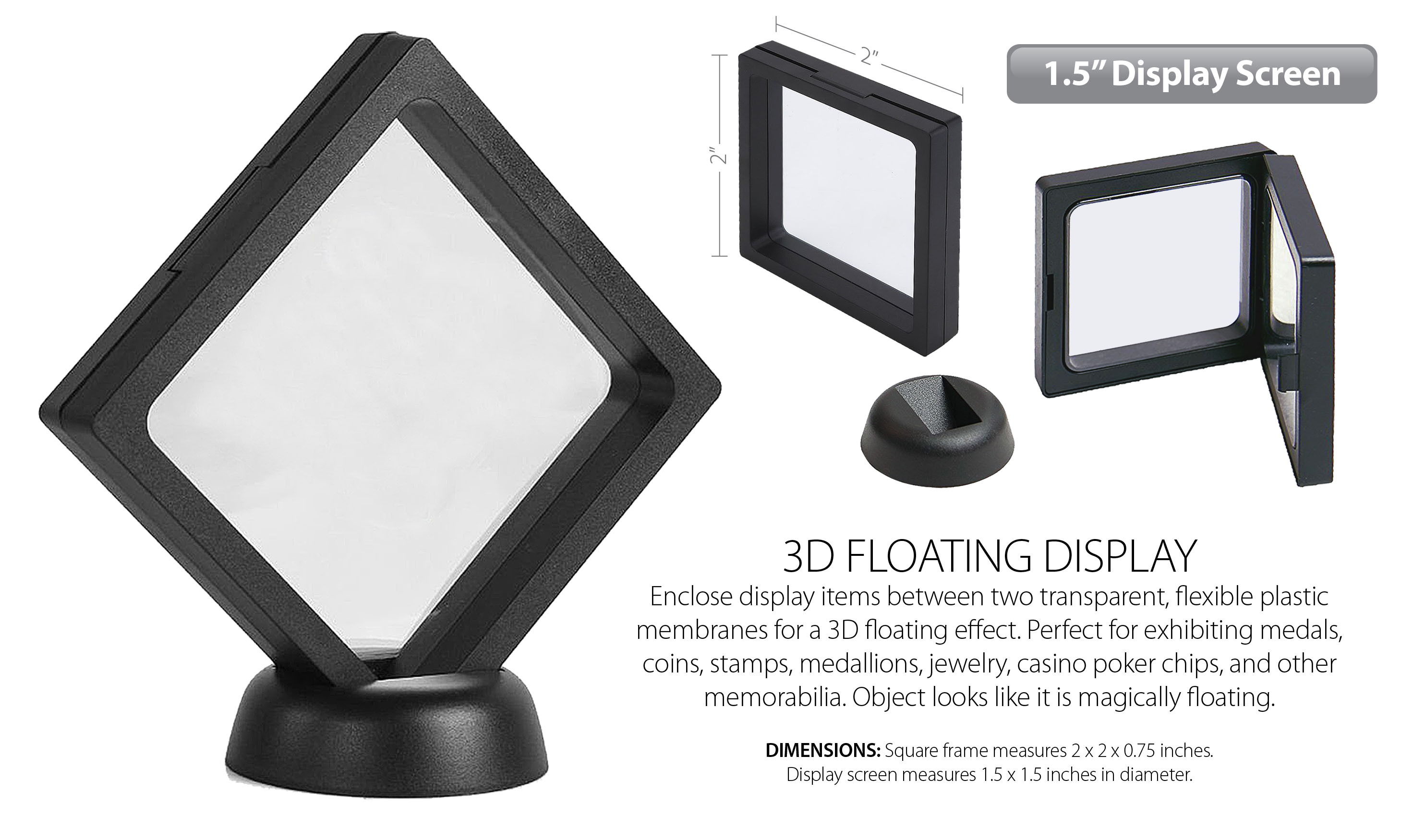 """3D Floating View Coin Display Frame Holder Box Case Small Black (1 5"""") -  QTY 2"""