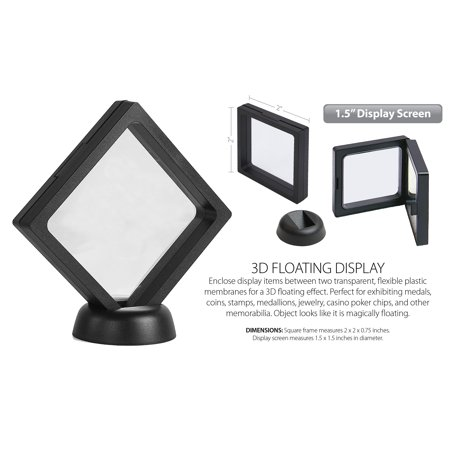 "3D Floating View Coin Display Frame Holder Box Case Small Black (1.5"") - QTY 2 ()"