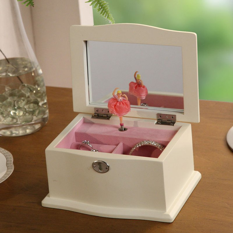 Chic Musical Dancing Ballerina Jewelry Box - 7W x 3.75H in.