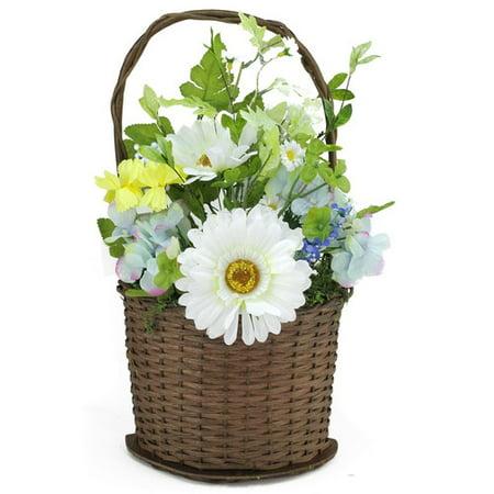 Northlight Seasonal Lakeside Silk Mixed Flower Artificial Spring Floral Arrangement in Basket