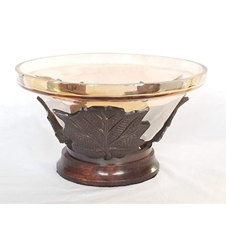 Russ Home Iridescent Light Amber Colored Glass Vase with Metal Leaves and Wooden Base ()