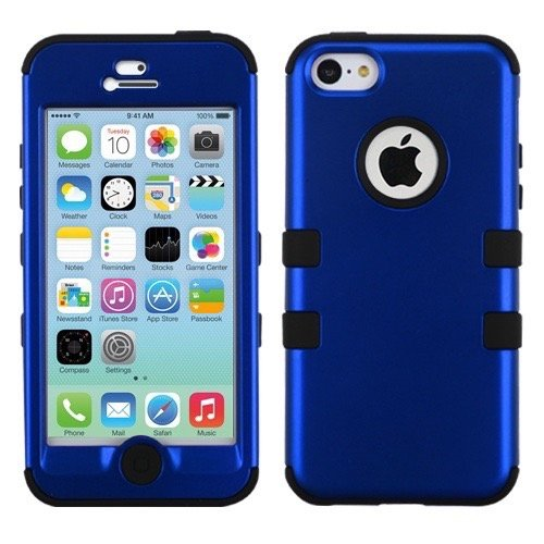 Apple iPhone 5C MyBat TUFF Hybrid Protector Case, Rubberized Black/Black
