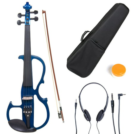 Cecilio 4/4 CEVN-2BL Solidwood Metallic Blue Electric/Silent Violin with Ebony Fittings-Full Size