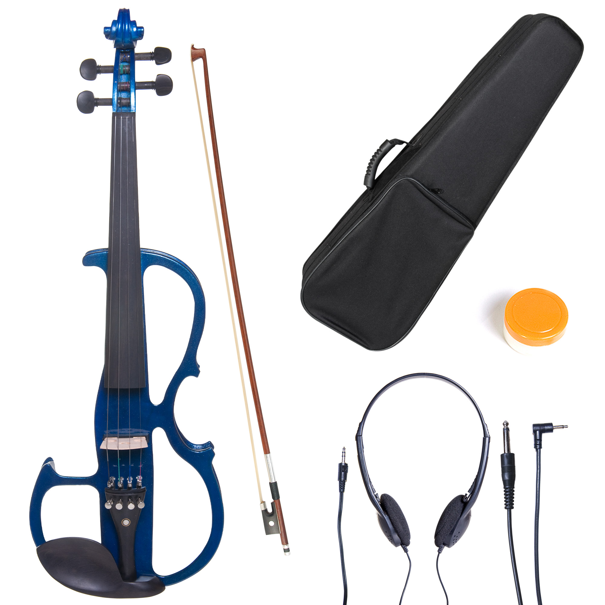 Cecilio Size 3/4 CEVN-2BL Solidwood Metallic Blue Electric/Silent Violin with Ebony Fittings