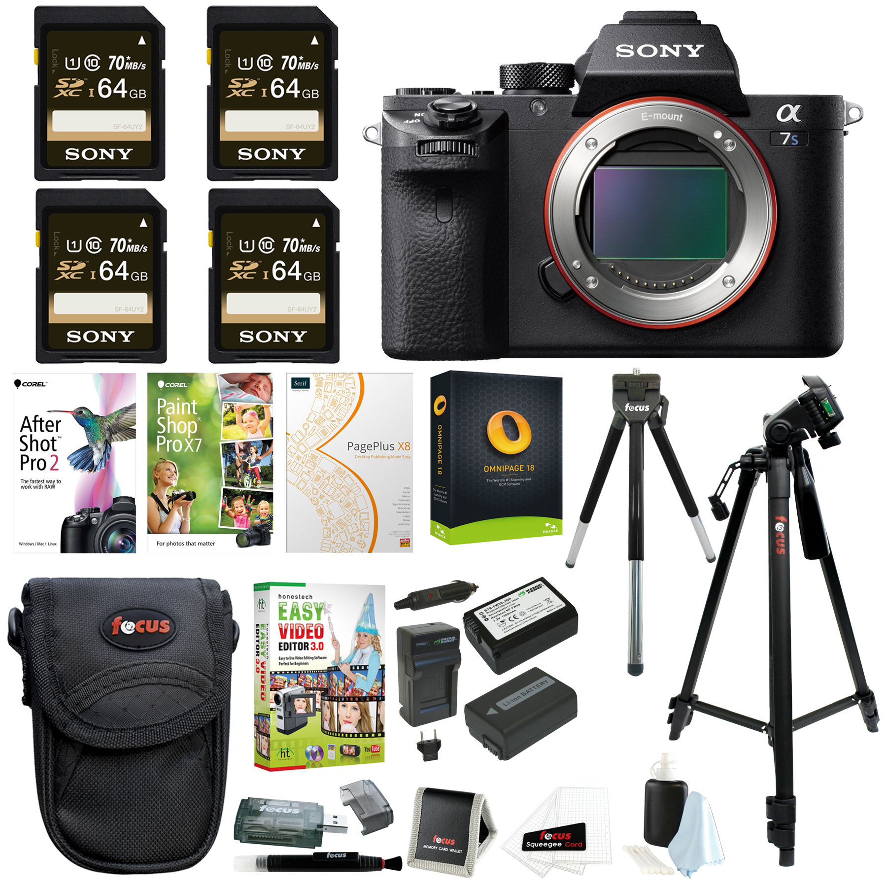 Sony Alpha a7SII Mirrorless Digital Camera Body w/ Four 64GB SD Card & Corel Suite Bundle