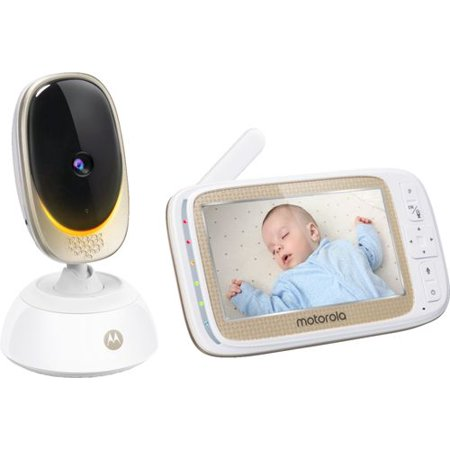 Motorola - Video Baby Monitor with Wi-Fi camera and 5u0022 Screen - Gold/White