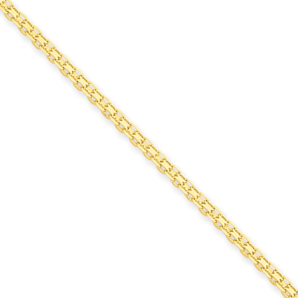 2mm, 14k Yellow Gold, Flat Bismark Chain Necklace, 24 Inch