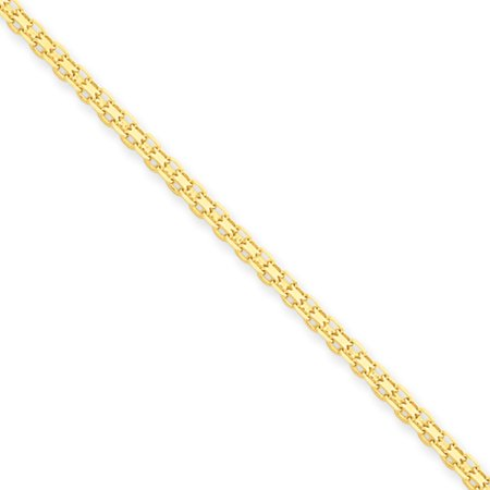 14k Gold 16 Inch Necklace - 2mm, 14k Yellow Gold, Flat Bismark Mesh Chain Necklace, 16 Inch