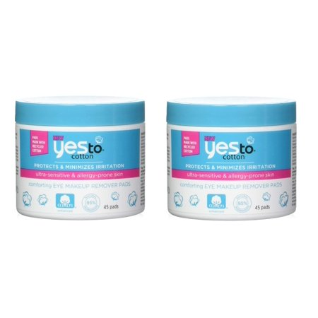 Yes To Cotton Protects and Minimizes Irriation for Ultra Sensitive and Allergy Prone Skin Comforting Eye Makeup Remover Pads, 45 Count (Pack of 2) + Beard Shaping Tool ()