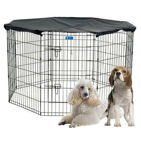 Proselect Exercise Pen - AKC® 36in H x 6ft Dia. Pet Exercise Play Pen with Cover for Indoor or Outdoor - Medium, with Free Training Guide