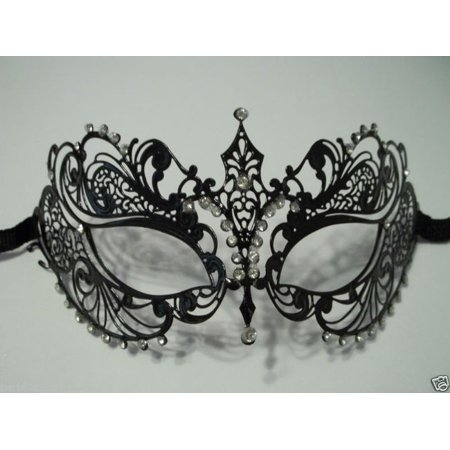 Black Crystal Beautiful Eyes Laser Cut Venetian Mask Masquerade Metal Filigree - Venetian Masquerade Masks On A Stick